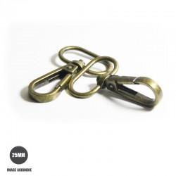 2 x 25mm Mousquetons Pivotants / Metal / Style 4 / Bronze Antique
