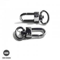 2 x 10mm Mousquetons Pivotants / Métal / Gunmetal / Ovale