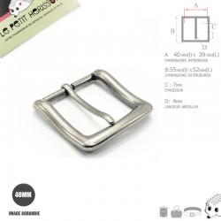1 x 40mm  Boucle de ceinture / Métal / Argente Antique