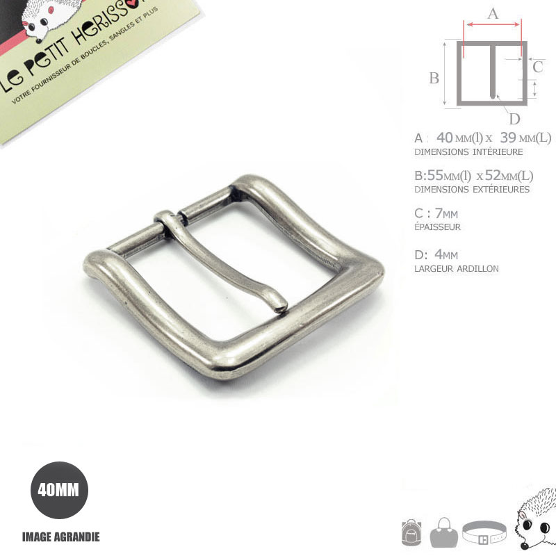 1 x 40mm Boucle de ceinture   Métal   Argente Antique   Epais e579bd9589d