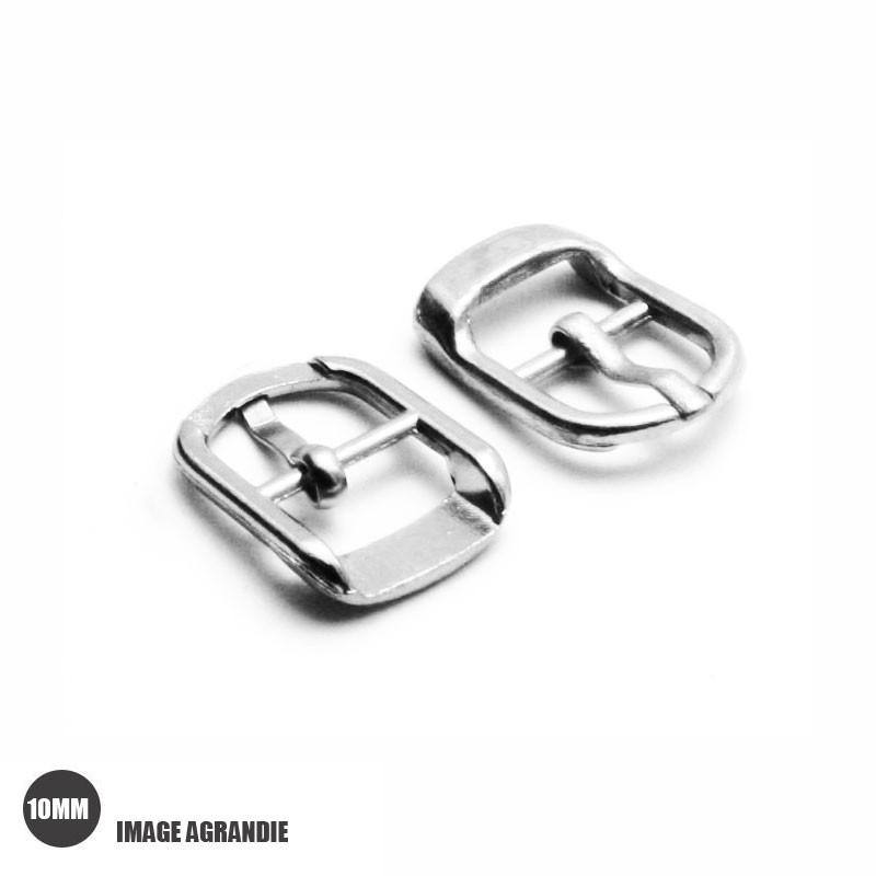 2 x 10mm Boucles pour Chaussures/ Métal / Argente