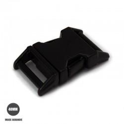 1 x 40mm Boucle Attache Rapide / Fermoir Clip / Metal / Noir Matt