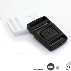 1 x 25mm Boucle Centre / Plat / Plastique /  Noir / Carre