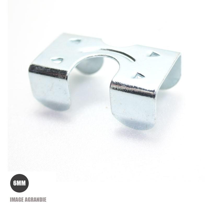 1 x 6mm Agrafe pour longes / Acier / avec plaque zinc