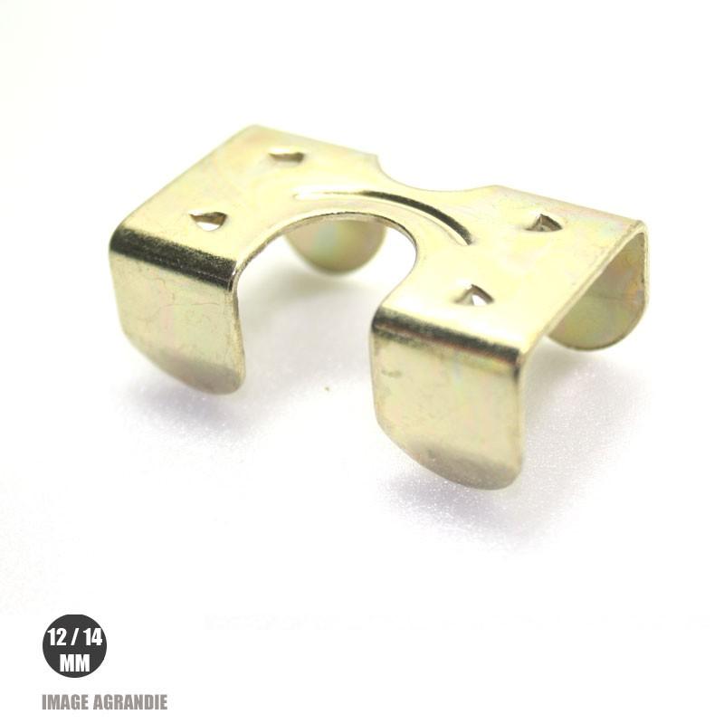 1 x 12/14mm Agrafe pour longes / Acier / Plaque Laiton