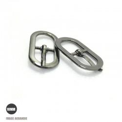 2 x 10mm Boucles de ceintures / Métal / Gunmetal / Ovale