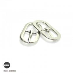 2 x 10mm Boucles de ceintures / Métal / Nickel / Ovale