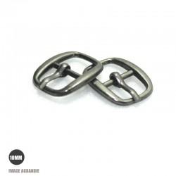 2 x 10mm Boucles de ceintures / Métal / Gunmetal / Arrondi