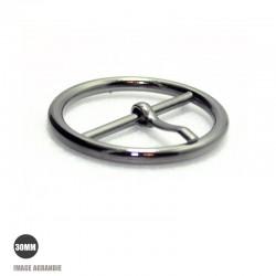 1 x 30mm  Boucle de ceinture / Métal / Gunmetal / Rond