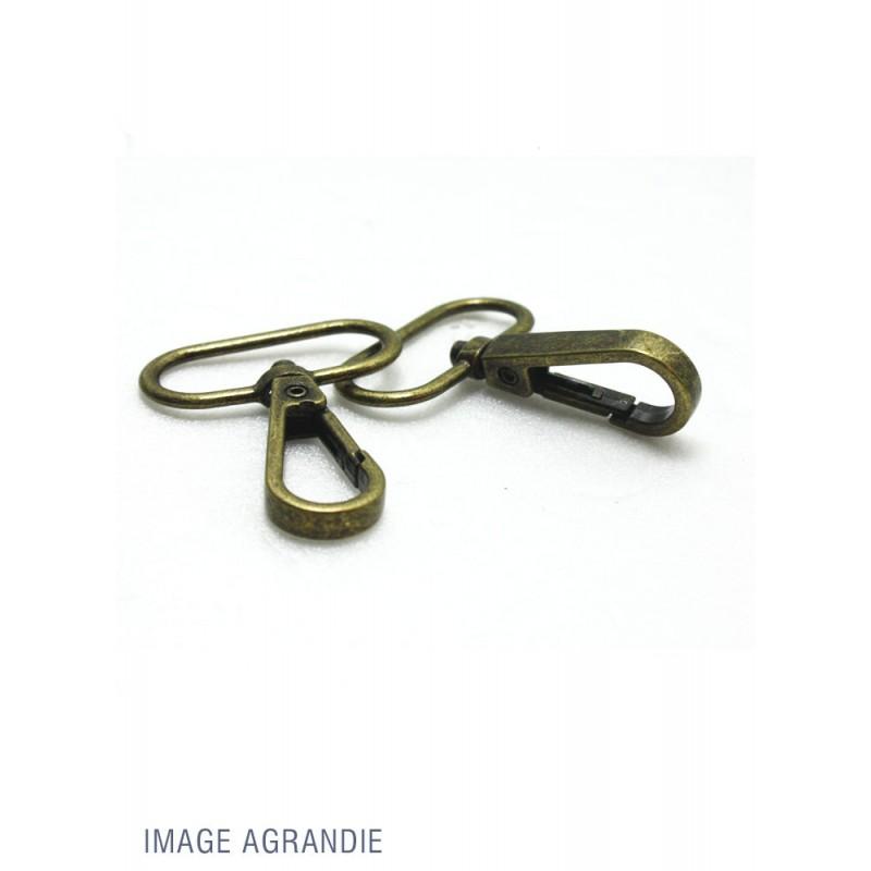 2 x 30mm Mousquetons Pivotants / Métal / Bronze Antique / Economique