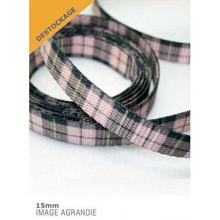 1m x 15mm Sangle / Polyester/ Epais / Fabriqué dans l'États Unis / plaid écossais rose (dernière de stock)