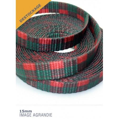 1m x 15mm Sangle / Polyester/ Epais / Fabriqué dans l'États Unis / plaid écossais (dernière de stock)