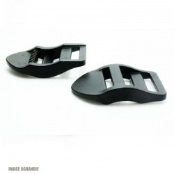 2 x 20mm Boucles de Règlage / Boucles de Serrage / Plastique / Noir / Epais / Courbe