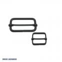 2 x Boucles Coulissantes / Boucles Réglables / Métal / Noir Matt