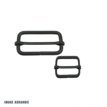 2 x Boucles Coulissantes / Boucles Réglables / Acier / Noir Matt