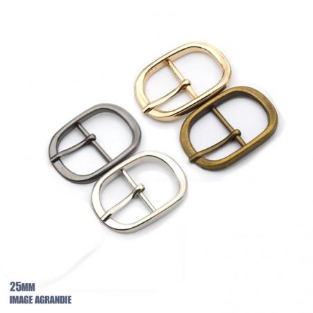 1 x 25mm  Boucle de ceinture / Métal /  Ovale