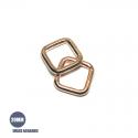 2 x  Anneaux Rectangulaires / Passants Simples / Epais / Dore Rose
