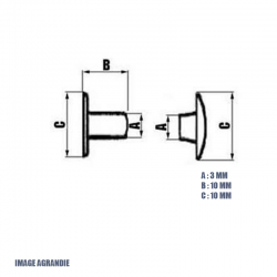 10 x 10mm Rivets Tubulaires / Acier / Plat / Nickel / Ouvert
