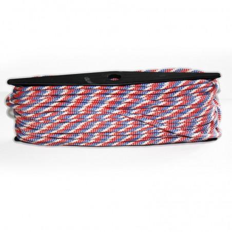 1m x 4mm Paracorde 550 / 75 motif / bleu rouge blanc