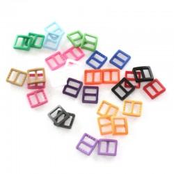 2 x 10mm Boucles Coulisse / Passants Doubles / Plastique