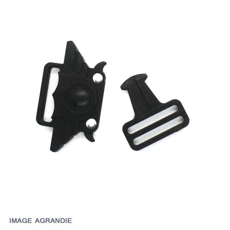 4 Boucles clip clic clac attache rapide larg 25 mm NOIRES