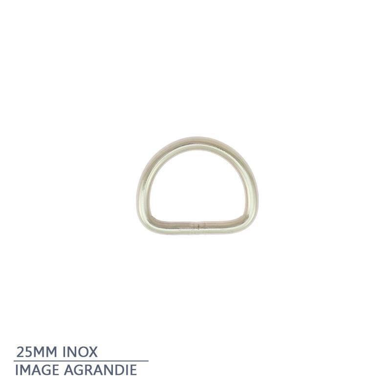 2 x  Anneaux demi lunes / Inox / Soudé / Argente
