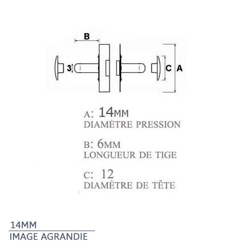 2 x 14mm rivets de fermoir / pressions magnétiques - plaque de nickel