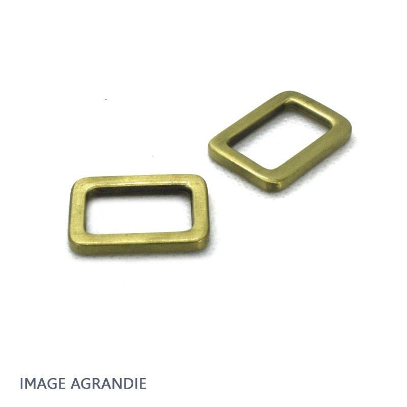 2 x 20mm Anneaux Rectangulaires / Passants Simples / Laiton vieilli (Laiton Brosse)
