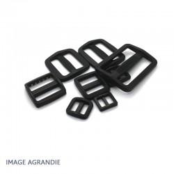 2 x Boucles Coulisse / Passants Doubles / Plastique / Noir