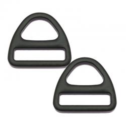 2 x Anneaux Triangles / Métal / Noir