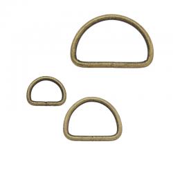 2 x Anneaux demi lunes / Acier / Soudé / Bronze Antqiue