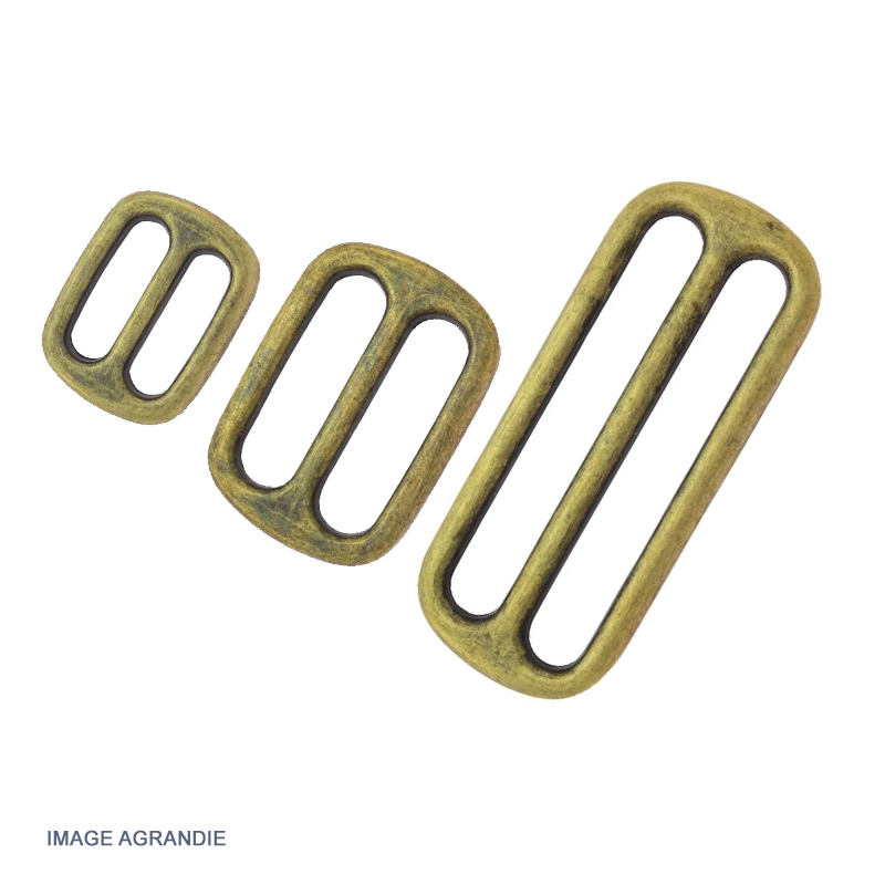 2 x Boucles Coulisse / Passants Doubles / Métal / Rond / Bronze Antique