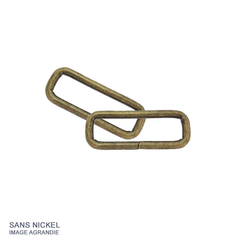 2 x Anneaux Rectangulaires / Passants Simples / Metal / Epais / Bronze Antique