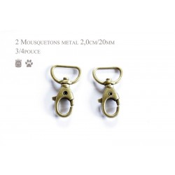 2 x 20mm Mousquetons Pivotants / Métal / Bronze / Style 5