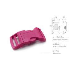 1 x 19mm Boucle Attache Rapide / Fermoir Clip / Plastique / Fuchsia / Sacs