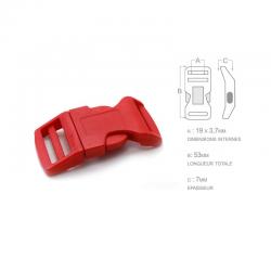 1 x 19mm Boucle Attache Rapide / Fermoir Clip / Plastique / Rouge / Sacs