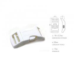 1 x 19mm Boucle Attache Rapide / Fermoir Clip / Plastique / Blanche / Sacs