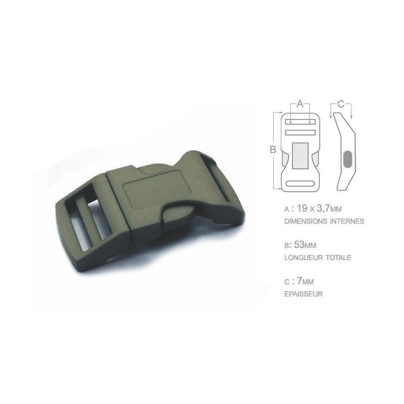 1 x 19mm Boucle Attache Rapide / Fermoir Clip / Plastique / Khaki Fonce / Sacs