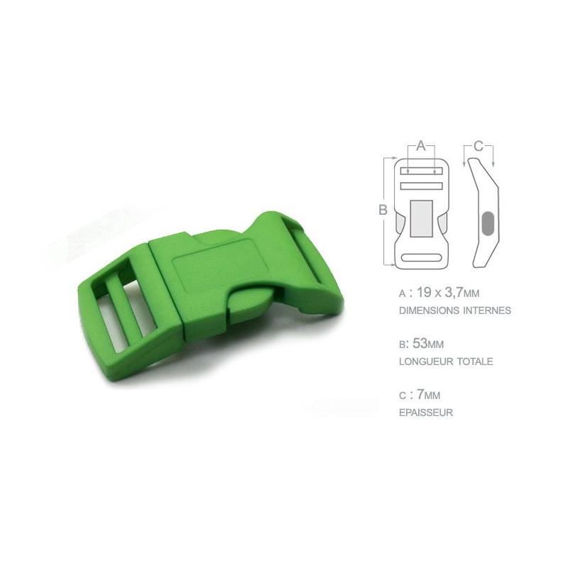 1 x 19mm Boucle Attache Rapide / Fermoir Clip / Plastique / Vert / Sacs